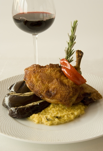 Roasted Chicken with Creamy Polenta and Grilled Eggplant