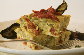 Eggplant Frittata with Sun Dried Tomatoes