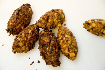 Eggplant and Grilled Corn Fritters with Roasted Squash-Jalapeno Aioli