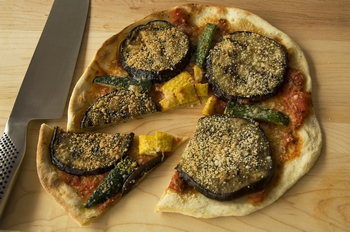 Grilled Eggplant on Potato-Crust Pizza with Basil and Mozzarella